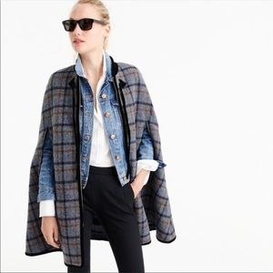 J. Crew Collection tartan plaid wool cape NEW $425